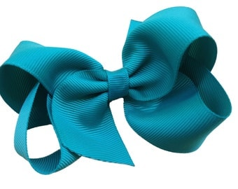 Jade hair bow - dark green bow, teal bow,  toddler bow, boutique bow