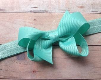 Aqua baby headband - aqua bow headband, baby bows, baby bow headband, newborn headband, baby hair bows, bow headband, baby headbands, bows