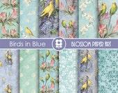 Vintage Digital Paper Blue, Birds Digital Paper Pack, Vintage Birds Scrapbooking, Birds in Blue - INSTANT DOWNLOAD  - 1730