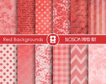 Digital Paper Red Digital Paper Pack, Scrapbooking Papers Damask Dots Chevron Textures, Backgrounds - INSTANT DOWNLOAD  - 1652