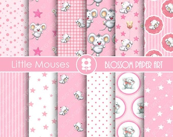 Pink Digital Paper Baby Girl Pink Digital Papers, Scrapbooking, Mouse, baby Shower - Collage Sheet - 1712