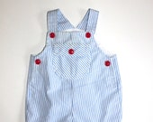 BABY BOY ROMPER - Pinstriped - Red Buttons - Size 3 to 6 Months