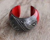 Big Red Wooden Bangle Bracelet Handmade With Silver Painting Thailand Fair Trade Jewelry (B131-SVR)