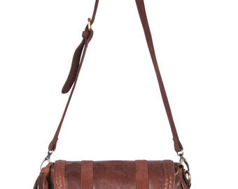 EVERMORE SMALL. Brown leather cross body purse / crossbody leather satchel bag / small messenger bag. Available in different leather colors