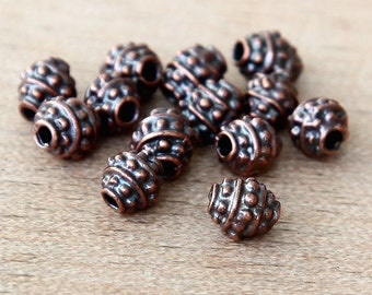 20 Pcs Bali Style Beads, Bronze, 4mm Small Spacer Lead Free - eC4057B