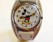 Hard to Find,1970's, The Walt Disney Company, Lorus Mickey Mouse, Very 70's White Leather Band,  Unisex