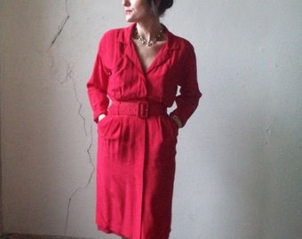 red silk ARGENTI shirt dress with belt// size 6