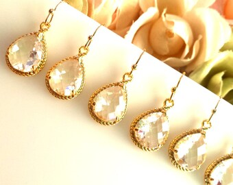 Crystal Earrings, Clear Earrings, Gold Wedding Earrings, Bridal Jewelry, Drop, Dangle,Bridesmaid Gift, Wedding Jewelry,Chirstmas GIFT, SALE!