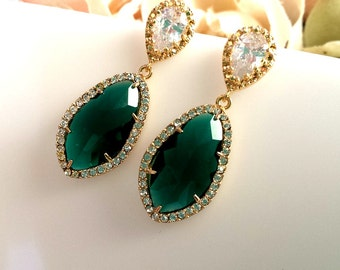 Emerald Earrings, Gold earrings, CZ Earrings,Wedding Jewelry, Bridesmaid Gift, Bridal, Drop, Dangle, Stud Earrings, Christmas Gift