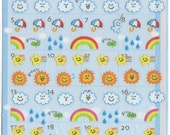 Kawaii Japan Sticker sheet Assort: Petit Life Schedule Seal Series Q-Lia Colorful Weather Raining Point Stickers Acid Free