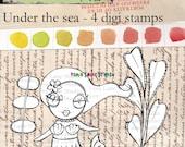Whimsical mermaid digi stamp set