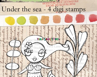 Whimsical mermaid digi stamp set