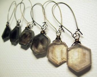 Smoky Quartz Earrings- Raw Crystal Earrings - Smokey Quartz Jewelry - Healing Quartz Crystal Earrings - Hexagon Crystal Slice Dangle Earring