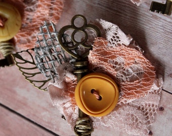 Stay Open >>>> Vintage Lace + Key Boutonniere // Vintage Button and Lace Wedding Boutonnieres // Custom Made