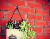 Sliced Agate handmade concrete hanging planter