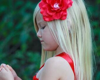 Red Flower Clip, Valentine Red Flower Headband, Newborn Toddler and Girls Headbands