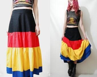 Skirt 70s Vintage Tiered BLOCK COLOUR Highwaisted Mid-Long Length Cotton Calico Boho Bohemian Hippie vtg 1970s S