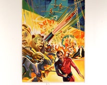 Vintage Original 1940's Barnes Brothers Circus Poster- Cannon Act and Lion Tamer