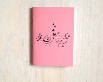 Small Notebook: Valentines, Love Birds, Kissing, Pink, Gift, Valentine's Day, For Her, For Him, Mini Journal, Small Notebook, Unique, UU106