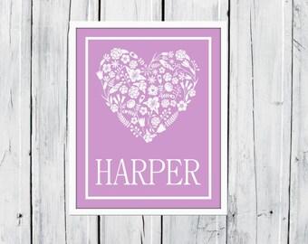 Floral Heart -  Nursery Decor - Young Girl's Room Decor - Name Print  - Flower Nursery Decor