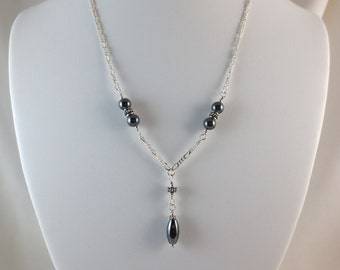 6 mm - Hematite Necklace - Oval Drop - Sterling Silver