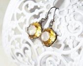 Sterling Silver Yellow Glass Earrings - November Birthstone earrings - Amber Honey Topaz Glass Earrings -