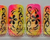 Curling Neon Vines Instant Acrylic Nail Set