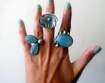 Blue Chalcedony Sterling Silver Ring Statement Cocktail Gemstone Cups Eco Friendly Mineral Stone Bezel set Metalsmith Fine Jewelry Senobar