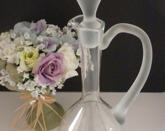 Vintage, Elegant, Tall Glass Decanter, Frosted Arm and Stopper