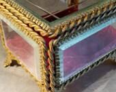 Reserved for JACKIE JEWELRY CASKET Box Large Antique Vintage Heavy Beveled Glass Velvet