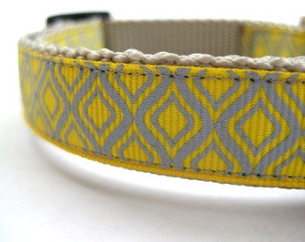 "Geometric Grey & Yellow Dog Collar, 3/4"" wide available in S, M, L"