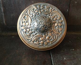 Wood Copper Trinket Snuff Box Artisan Made