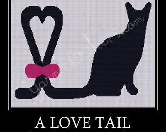 A Cat Tail  - Afghan Crochet Graph Pattern Chart - Instant Download