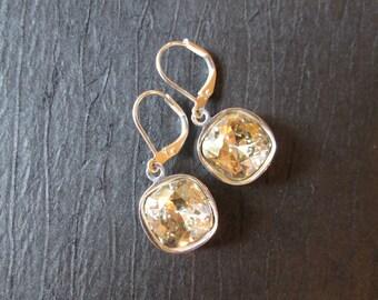 Silver Shade Swarovski Earrings/ Bridesmaid Jewelry/ Bridal Jewelry/ Crystal Drop Earrings/ Bridesmaid Earrings/Swarovski Crystal