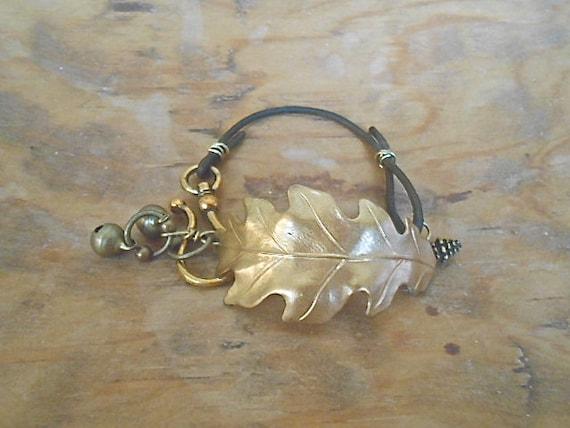 Bracelet Gold Leaf  Leather Rustic Fall  Woodland Warm Earthy Boho Trending Metal Christmas Hanukkah Gift Antiqued Bells