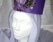 READY TO SHIP Crown Princess headdress, Whimsical Fantasy Hair Style, Larp, Wiccan ritual wedding sorceress