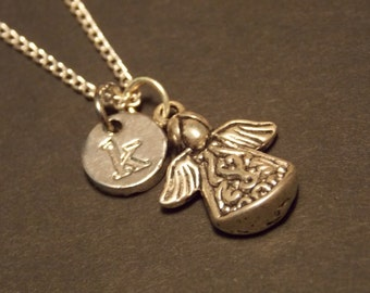 Personalized Charm Necklace- Silver Angel