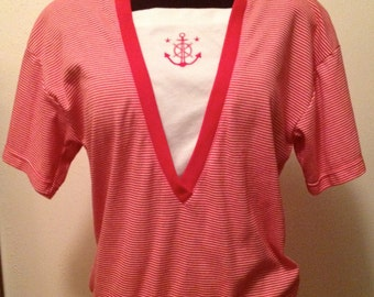 VINTAGE 1990's NAUTICAL Red/ White Striped SHIRT w/ Anchor