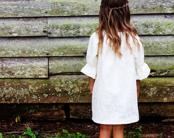 Lace Flower Girl Dress, Rustic Wedding,Blush, Fall long sleeve Flower girl Dress ,Winter sizes Newborn -2t, 3t, 4t, 5t, 6, 7, 8, 9/10, 11/12