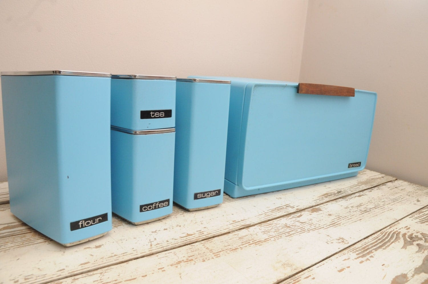 lincoln turquoise metal kitchen canister set with breadbox