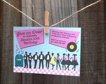 1950's Party Invitation, Grease Inspired, Pink Ladies, Rock & Roll - Printable