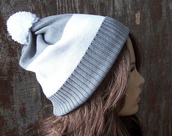 Grey & white stripe slouch beanie recycled sweater hat slouchy pom pom adult handmade Bohemian upcycled one size unisex men women