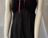 BETSY JOHNSON sz. Lg. Baby Doll Nightgown shorty black pink pokadot