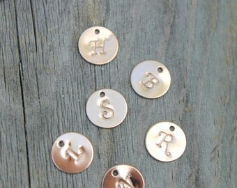 Additional 14k Rose Gold Filled initial disc. Add one to your necklace or bracelet. For customers of Potion No.9