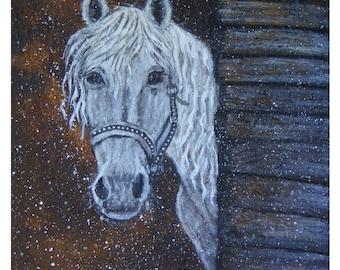 Original 8 x 10 White Horse Print, Native American, Heart, Western. Horse Lover. Rust, Home Decor, Kid's Room, Equestrian, Weathered Wood,