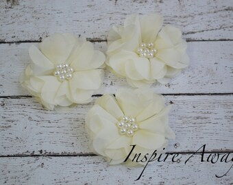 Set of 3-Ivory Pearl Chiffon Flowers- Flower applique, fabric flower, wholesale flowers, chiffon flowers, supply flowers,headband supply