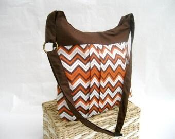 Orange Brown Chevron bag - Brown and Orange crossover shoulder chevron bag / diaper bag / tote / messanger bag / purse