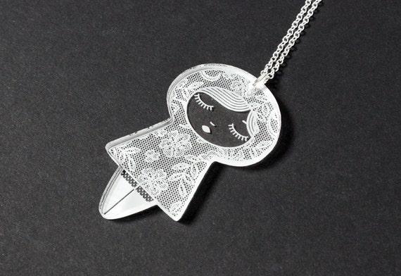 Doll necklace with lace pattern - cute kokeshi pendant - graphic matriochka jewelry - russian doll jewellery - lasercut clear acrylic