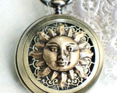 Sun face pocket watch, men's mechanical pocket watch with sun face mounted on front cover of double open cover