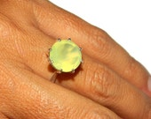 Prehnite Ring, Big Stone, 12mm Round, Sterling Silver, Cocktail Ring, Solitaire Setting